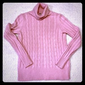 JCREW Pink Cable knit Turtleneck Sweater